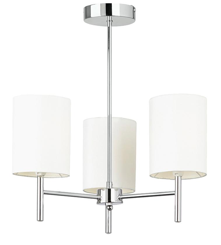 ... Ceiling Light With Cream Faux Silk Shades, Polished Chrome - BRIO-3CH
