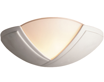 Firstlight Ceramic Wall Light, Unglazed With Acid White Glass - C322UN