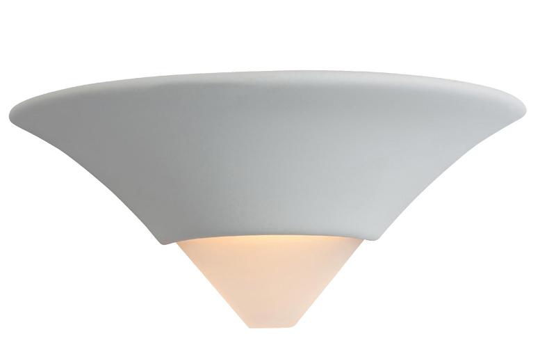 Unglazed Ceramic Wall Lights : Firstlight Ceramic Wall Light, Unglazed With Acid White Glass - C340UN from Easy Lighting