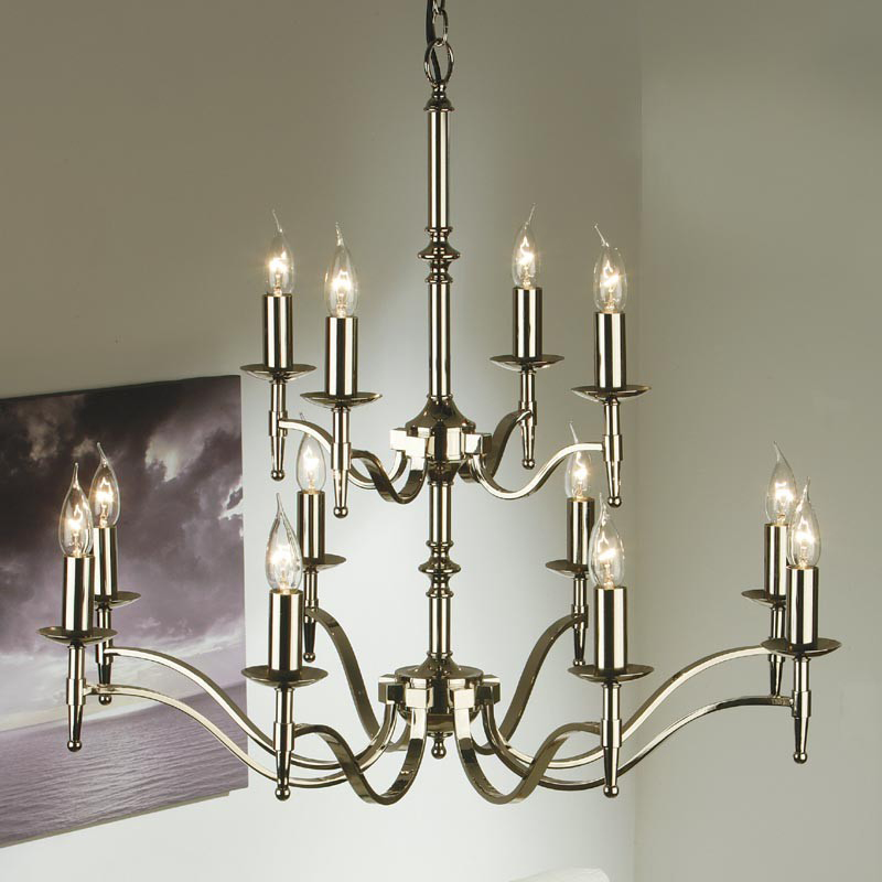 Interiors 1900 Stanford 12 Light Chandelier, Polished Nickel - CA1P12N