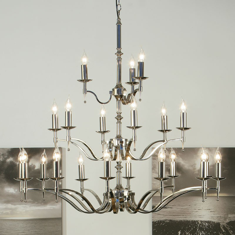 Interiors 1900 Stanford 21 Light Chandelier, Polished Nickel - CA1P21N