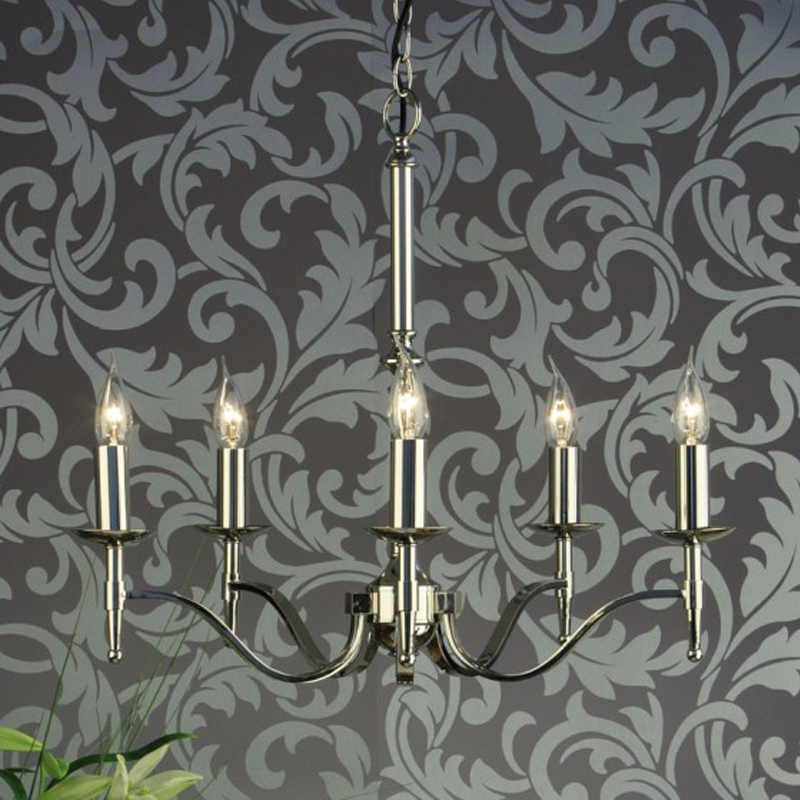 Interiors 1900 Stanford 5 Light Chandelier, Polished Nickel - CA1P5N