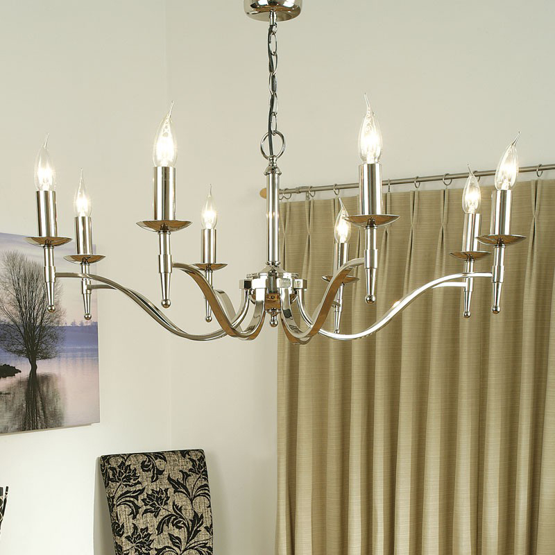 Interiors 1900 Stanford 8 Light Ceiling Light, Polished Nickel - CA1P8N