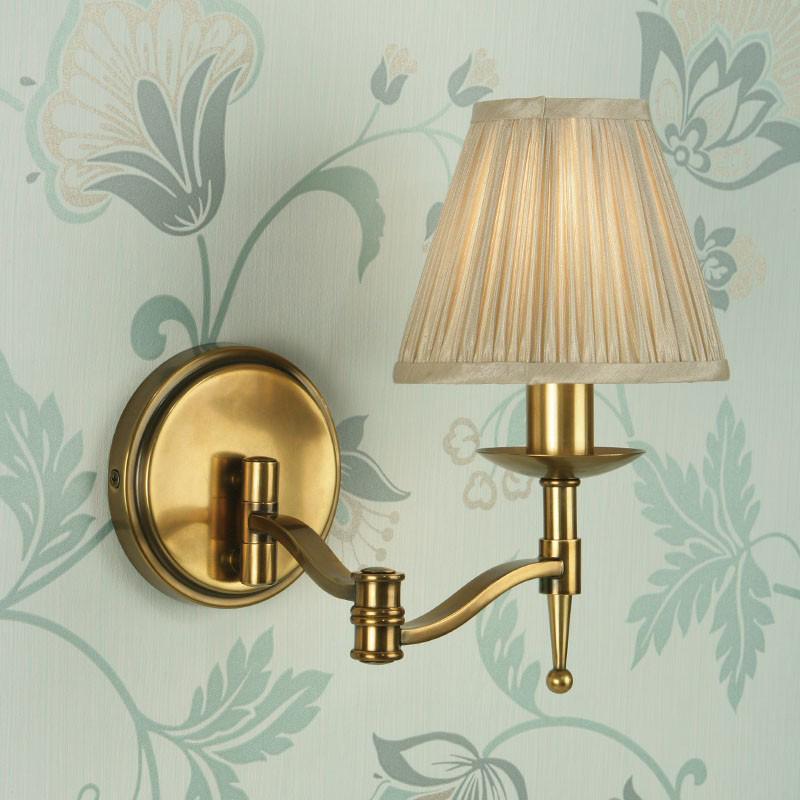Interiors 1900 Stanford 1 Light Swing Arm Wall Light, Antique Brass Finish - CA1WSAB