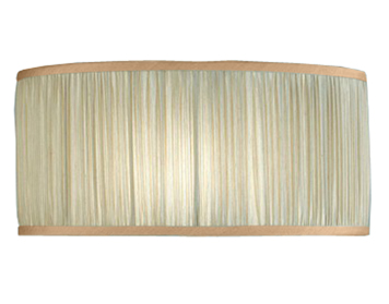 Interiors 1900 Straight Sided Cylinder Shade, Beige Faux Silk & Antique Brass Trim - CA2SHB