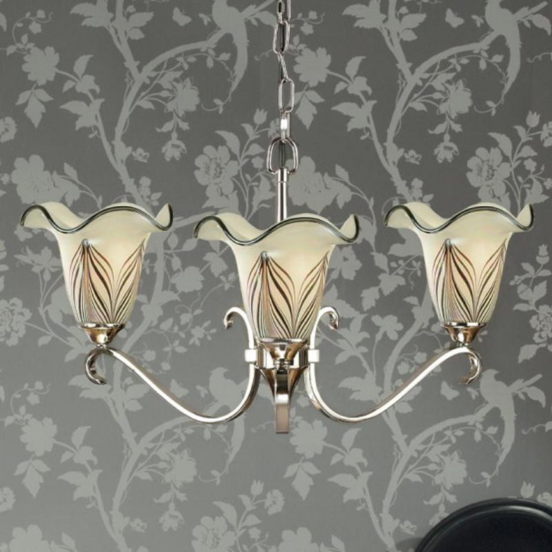 Interiors 1900 Columbia 3 Light Chandelier, Polished Nickel - CA6P3N