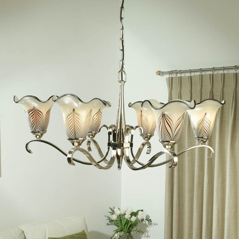 Interiors 1900 Columbia 6 Light Chandelier, Polished Nickel - CA6P6N