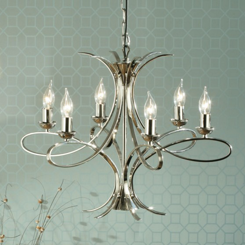 Interiors 1900 Penn 6 Light Ceiling Pendant Chandelier, Polished Nickel Plate - CA7P6N
