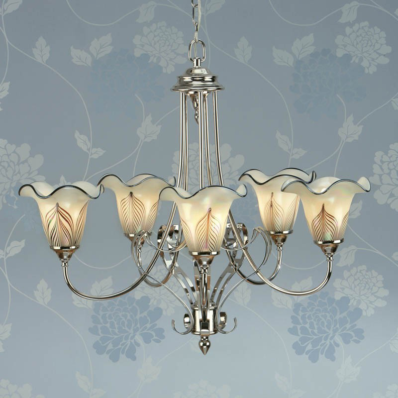 Interiors 1900 Zina 5 Light Ceiling Light, Polished Nickel - CA9P5N