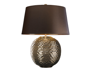 Elstead Caesar 1 Light Table Lamp, Gold Finish With Brown Shade - CAESAR/TL GOLD