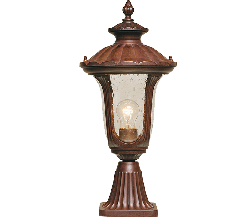 Parish Mini Pedestal Lantern: Elstead Chicago 1 Light Outdoor Small Pedestal Lantern