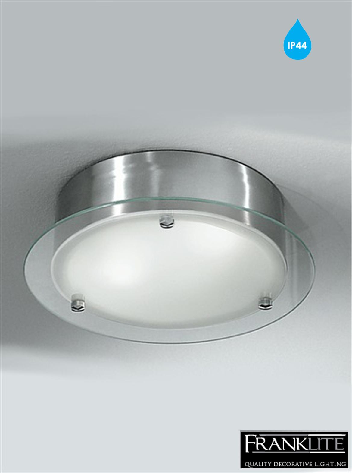 Bathroom Ceiling Lights Ip44 : Franklite satin glass nickel mm flush light