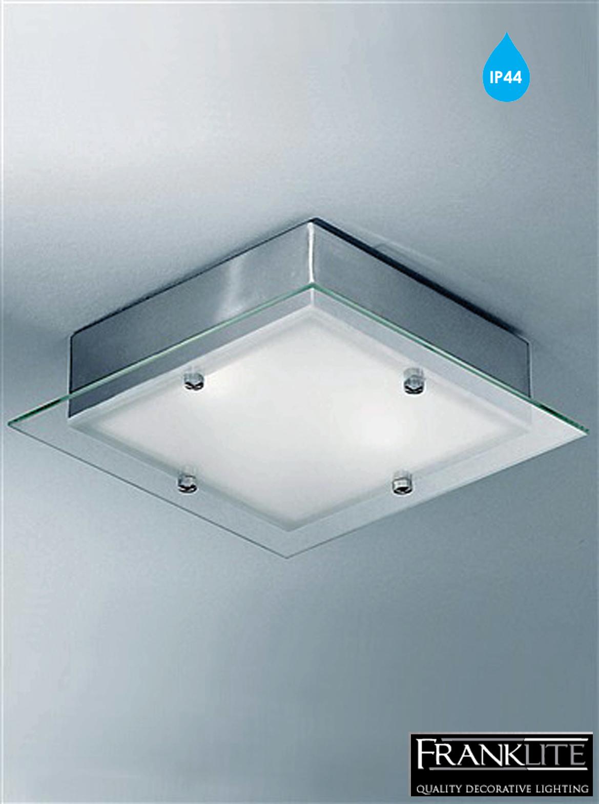 Franklite satin glass satin nickel square flush light bathroom ceiling fitting cf1250 from for Square bathroom ceiling light
