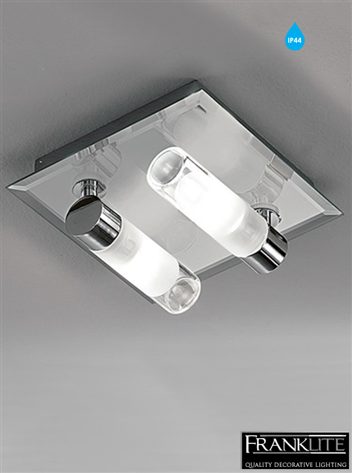 franklite glass chrome square 2 light ip44 bathroom ceiling fitting
