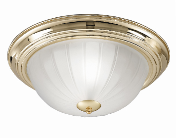 Franklite (355mm) Flush Fitting Ceiling Light, Brass Finish With Ribbed Acid Glass - CF5639