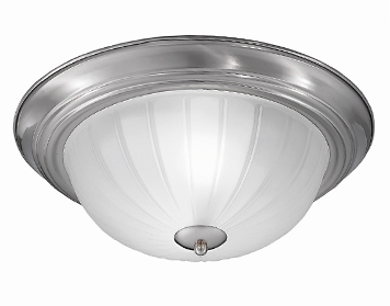 Franklite (355mm) Flush Fitting Ceiling Light, Satin Nickel Finish With Ribbed Acid Glass - CF5641