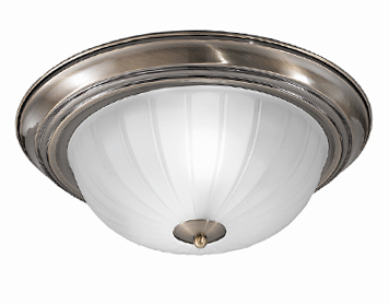 Franklite (355mm) Flush Fitting Ceiling Light, Bronze Finish With Ribbed Acid Glass - CF5643