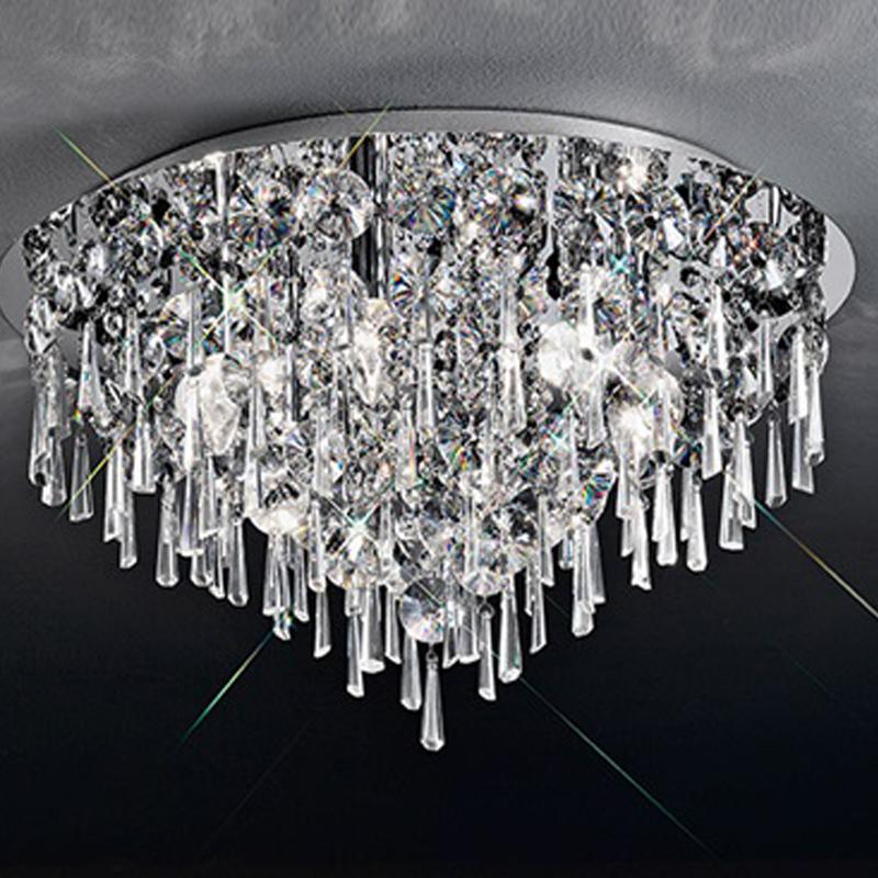 Franklite Jazzy 500mm Glass Amp Chrome 5 Light Flush Ceiling