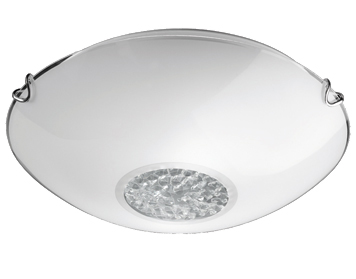 Franklite Circular (300mm) Flush Ceiling Light, Satin Opal Glass with Small Central Hexagonal Crystal Glass Drops & Chrome Finish Clasps - CF5729