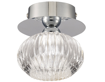 Franklite Tizzy 1 Light Semi-Flush Ceiling Light Chrome Finish With Clear Ripple Effect Glass - CF5749