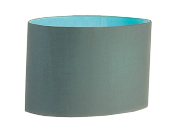 Interiors 1900 Straight Sided Oval Shade, Modern Grey With Turquoise Inner - C14SHLTG