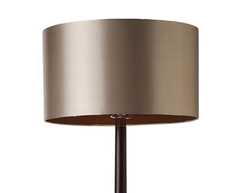 Endon Chasselas Floor Lamp, Walnut Wood Finish With Mink Faux Silk Shade - CHASSELAS