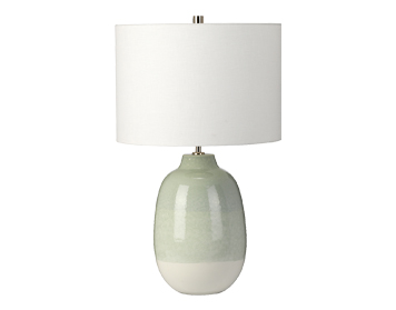 Elstead Chelsfield 1 Light Table Lamp, Pale Green & Snow White Ceramic Finish With White Shade - CHELSFIELD/TL