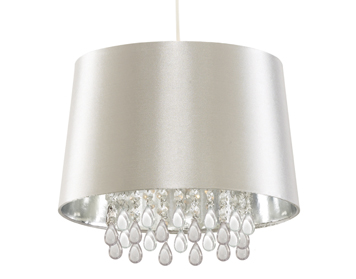 Searchlight Venetian 1 Light Pendant Ceiling Light, Faux Silk Shade & Peardrop Acrylic Beads - CL7026SICW