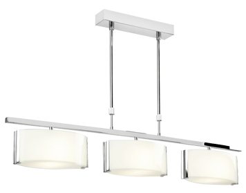 Endon Clef 3 Light Bar Semi Flush Ceiling Light, Chrome Plate Finish With Gloss White Glass - CLEF-BAR-3CH