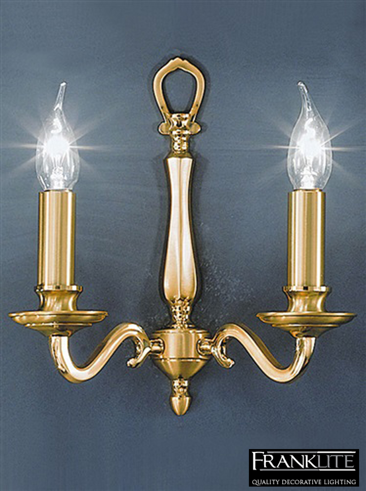 Franklite Cantabria Satin & Polished Brass Finish Twin Wall Light - CO4642 from Easy Lighting