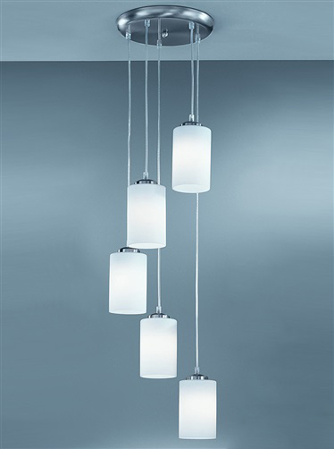 Franklite Modern 5 Light Ceiling Pendant Satin Nickel CO9575 727 From Easy
