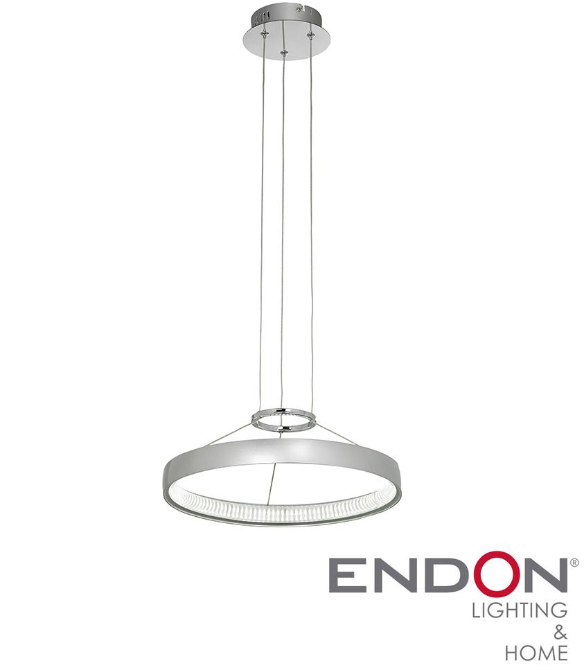 Endon Coburn LED Circular Pendant Ceiling Light Chrome