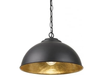 Endon Colman 1 Light Ceiling Pendant, Matt Black Finish With Gold Leaf - SALE-COLMAN-BL