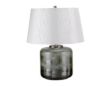 Elstead Columbus 1 Light Table Lamp, Aged Verdigris Finish With Light Grey Shade - COLUMBUS/TL