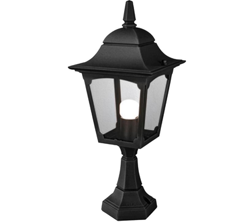 Elstead York Pedestal Lantern Light Black: Elstead Chapel Pedestal Lantern, Black