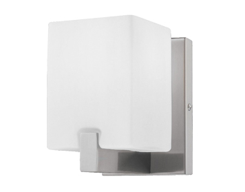 Azzardo Cross 1 Single Wall Light, Satin Nickel & White Glass Finish - AZ0084