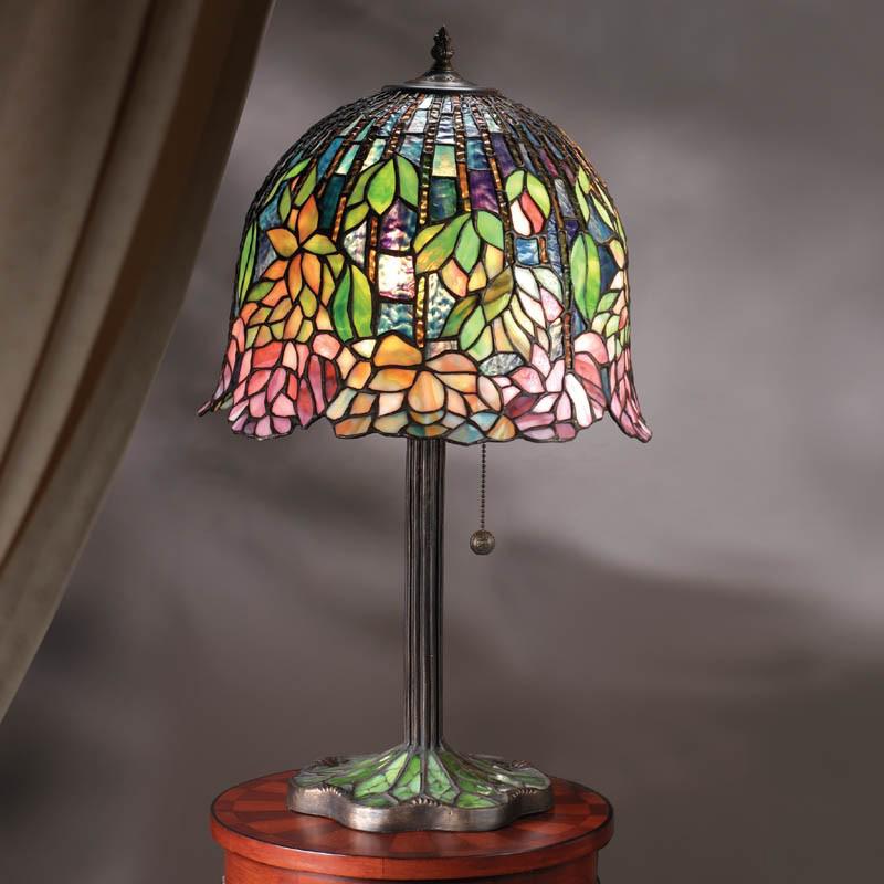 Interiors 1900 u0027Flowering Lotusu0027 Medium Table Lamp, Tiffany Coloured Glass  - DB900M/