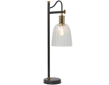Elstead Douille Table Lamp, Black/Polished Brass Finish - DOUILLE/TL BPB