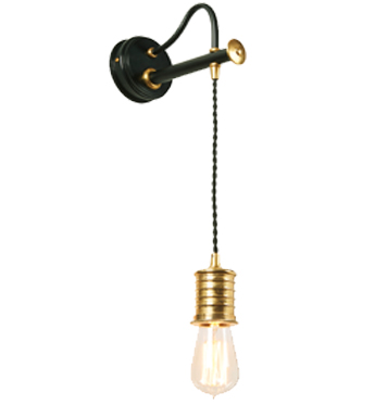 Elstead Douille 1 Light Lamp Wall Light, Black & Polished Brass Finish - DOUILLE1 BPB
