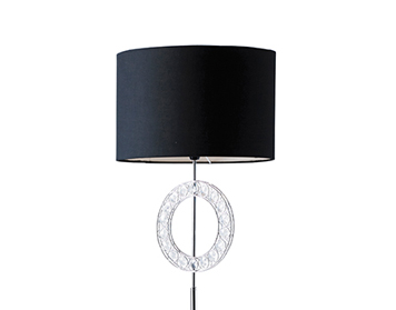 Endon Edgeware Floor Lamp With Clear Acrylic Decorative Ring & Black Shade, Chrome - EDGEWARE-FLCH