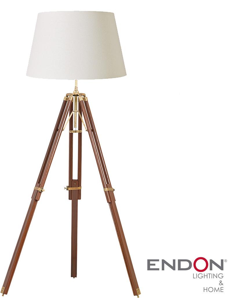 Endon 39 tripod 39 sheesham wood tripod floor lamp eh tripod for Cheap tripod lamp