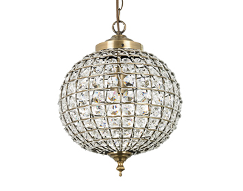 Endon Tanaro 1 Light Pendant, Antique Brass Finish With Clear Glass Beads - EH-TANARO-AB