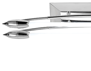 Endon 'Harper' Twin Fluorescent Bow Shaped Fitting, Polished Chrome - EL-10081