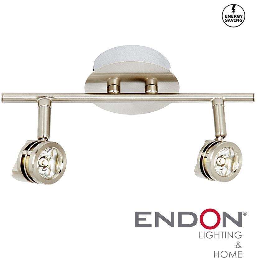 Symphony Twin Wall Lights : Endon LED Twin Spotlight Wall Or Ceiling Mounted, Stainless Steel - EL-10115 from Easy Lighting