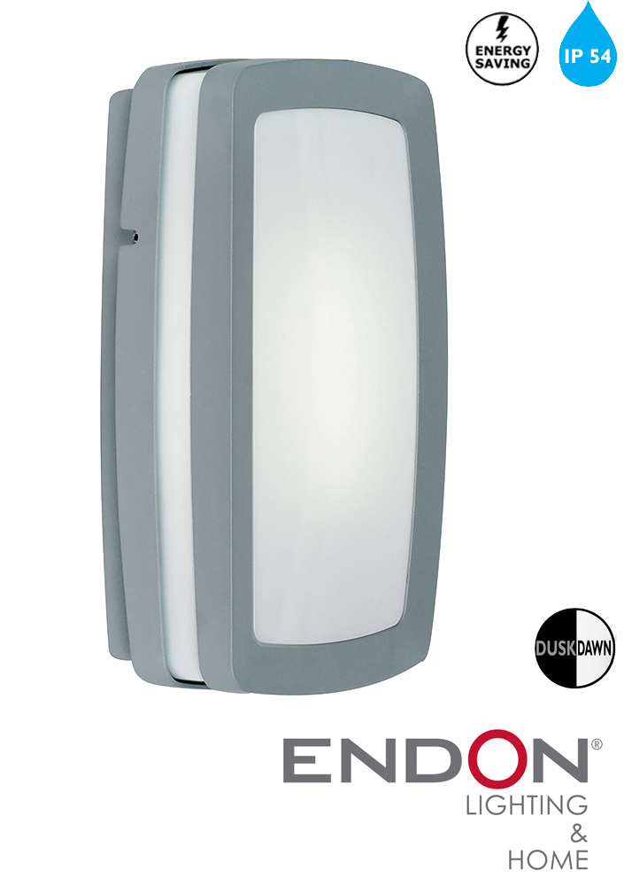 Low Energy External Wall Lights : Endon Low Energy Dusk To Dawn Outside Wall Light IP54, Silver - EL-40030 from Easy Lighting