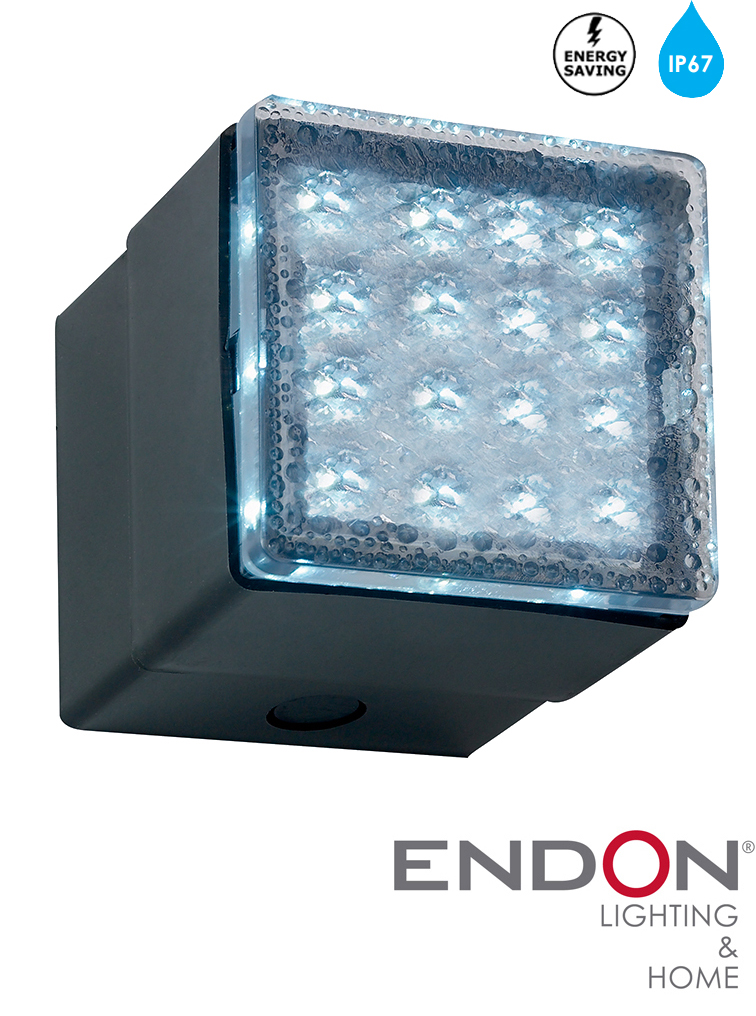 Large Led Wall Lights : Endon Large LED IP67 Outdoor Recessed Wall Light, Blue - EL-40038-BLU from Easy Lighting