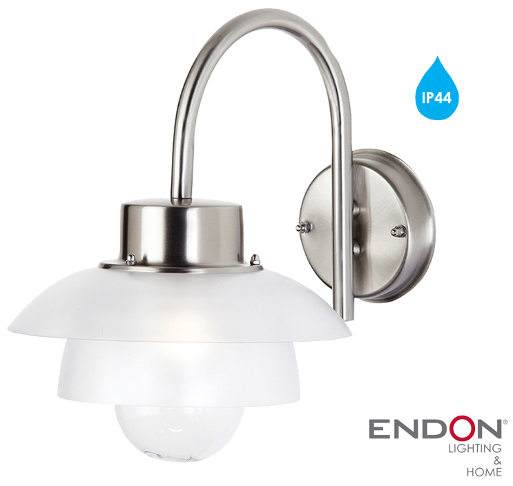 Endon Tiffany Wall Lights : Endon Outdoor Wall Light IP44, Stainless Steel - EL-40064 from Easy Lighting