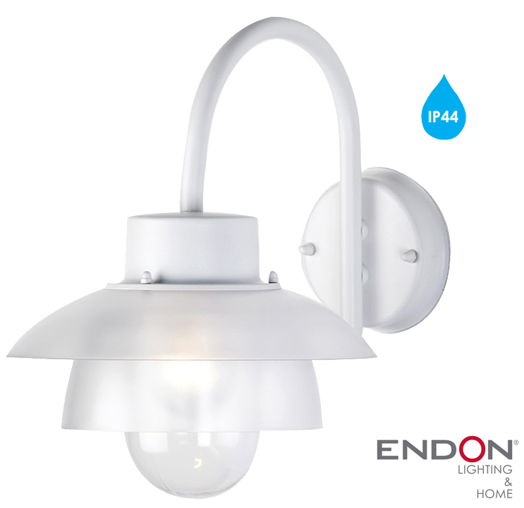 Endon IP44 Outdoor Wall Light, White - EL-40066 from Easy Lighting