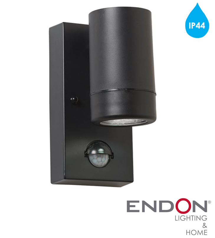 Led Outside Wall Lights Black : Endon Icarus PIR IP44 LED 1 Light Outdoor Wall Light, Black Polypropylene & Clear ...