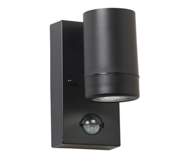 Endon Icarus PIR IP44 2 Light Outdoor Wall Light, Black Polypropylene & Clear Polycarbonate ...